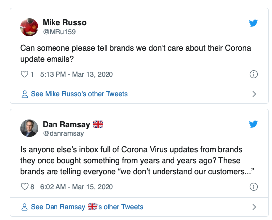 customer discontent on coronavirus email marketing