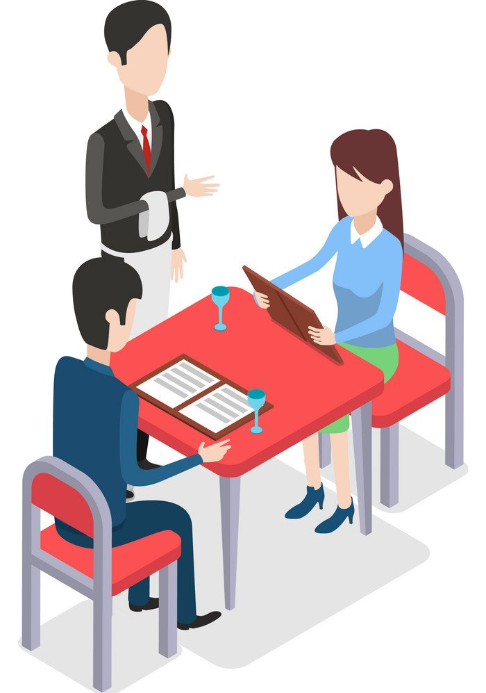 restaurant-waiter-standing-near-two-customers-vector-17099437